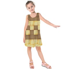 Wood Texture Grain Weave Dark Kids  Sleeveless Dress
