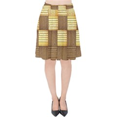 Wood Texture Grain Weave Dark Velvet High Waist Skirt by Nexatart