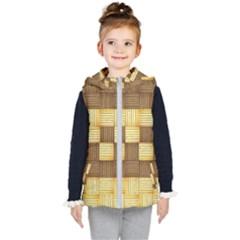 Wood Texture Grain Weave Dark Kid s Puffer Vest