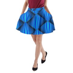 Abstract Waves Motion Psychedelic A Line Pocket Skirt