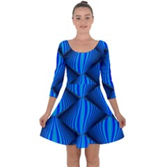 Abstract Waves Motion Psychedelic Quarter Sleeve Skater Dress