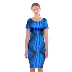 Abstract Waves Motion Psychedelic Classic Short Sleeve Midi Dress