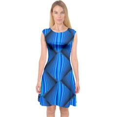 Abstract Waves Motion Psychedelic Capsleeve Midi Dress