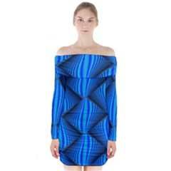 Abstract Waves Motion Psychedelic Long Sleeve Off Shoulder Dress