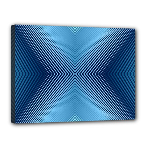 Converging Lines Blue Shades Glow Canvas 16  X 12