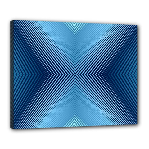 Converging Lines Blue Shades Glow Canvas 20  X 16