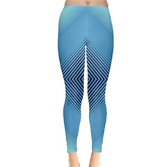 Converging Lines Blue Shades Glow Leggings  by Nexatart