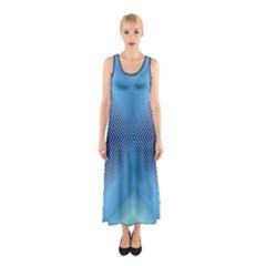 Converging Lines Blue Shades Glow Sleeveless Maxi Dress