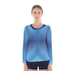 Converging Lines Blue Shades Glow Women s Long Sleeve Tee
