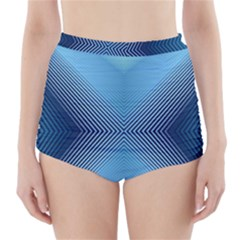 Converging Lines Blue Shades Glow High Waisted Bikini Bottoms