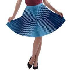 Converging Lines Blue Shades Glow A Line Skater Skirt