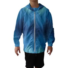 Converging Lines Blue Shades Glow Hooded Wind Breaker (kids)