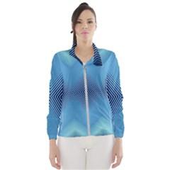 Converging Lines Blue Shades Glow Wind Breaker (women)