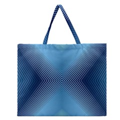 Converging Lines Blue Shades Glow Zipper Large Tote Bag