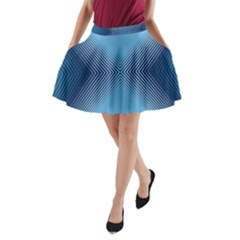 Converging Lines Blue Shades Glow A Line Pocket Skirt