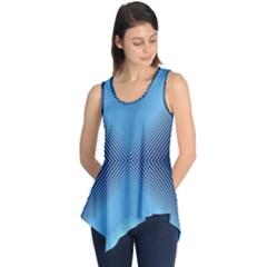 Converging Lines Blue Shades Glow Sleeveless Tunic