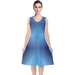 Converging Lines Blue Shades Glow V Neck Midi Sleeveless Dress