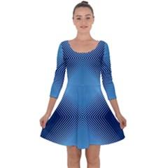 Converging Lines Blue Shades Glow Quarter Sleeve Skater Dress