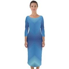 Converging Lines Blue Shades Glow Quarter Sleeve Midi Bodycon Dress
