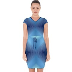 Converging Lines Blue Shades Glow Capsleeve Drawstring Dress