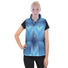 Converging Lines Blue Shades Glow Women s Button Up Vest