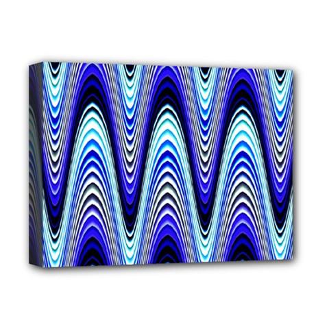 Waves Wavy Blue Pale Cobalt Navy Deluxe Canvas 16  X 12