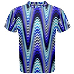 Waves Wavy Blue Pale Cobalt Navy Men s Cotton Tee
