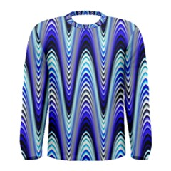 Waves Wavy Blue Pale Cobalt Navy Men s Long Sleeve Tee