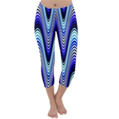 Waves Wavy Blue Pale Cobalt Navy Capri Winter Leggings