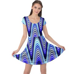 Waves Wavy Blue Pale Cobalt Navy Cap Sleeve Dress