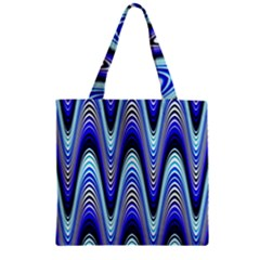 Waves Wavy Blue Pale Cobalt Navy Zipper Grocery Tote Bag