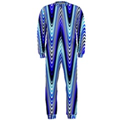 Waves Wavy Blue Pale Cobalt Navy Onepiece Jumpsuit (men)