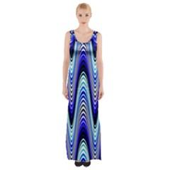 Waves Wavy Blue Pale Cobalt Navy Maxi Thigh Split Dress