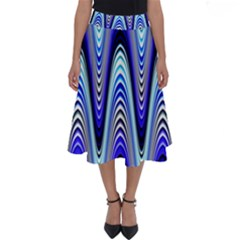 Waves Wavy Blue Pale Cobalt Navy Perfect Length Midi Skirt