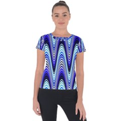 Waves Wavy Blue Pale Cobalt Navy Short Sleeve Sports Top