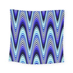 Waves Wavy Blue Pale Cobalt Navy Square Tapestry (small) by Nexatart