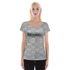 Texture Wood Grain Grey Gray Cap Sleeve Tops by Nexatart