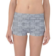 Texture Wood Grain Grey Gray Boyleg Bikini Bottoms