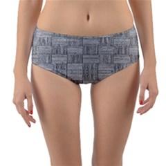 Texture Wood Grain Grey Gray Reversible Mid Waist Bikini Bottoms