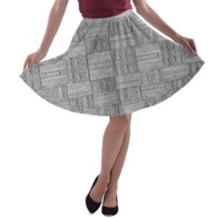 Texture Wood Grain Grey Gray A Line Skater Skirt