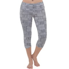 Texture Wood Grain Grey Gray Capri Yoga Leggings