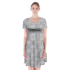 Texture Wood Grain Grey Gray Short Sleeve V Neck Flare Dress