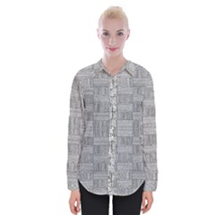 Texture Wood Grain Grey Gray Womens Long Sleeve Shirt