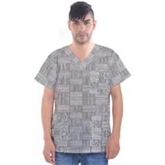 Texture Wood Grain Grey Gray Men s V Neck Scrub Top