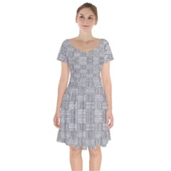 Texture Wood Grain Grey Gray Short Sleeve Bardot Dress