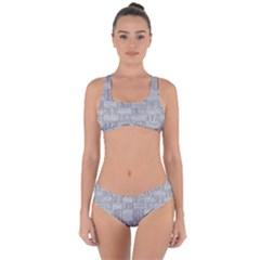 Texture Wood Grain Grey Gray Criss Cross Bikini Set