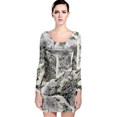 Coquina Shell Limestone Rocks Long Sleeve Bodycon Dress