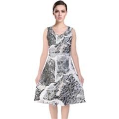 Coquina Shell Limestone Rocks V Neck Midi Sleeveless Dress