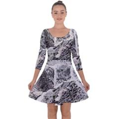 Coquina Shell Limestone Rocks Quarter Sleeve Skater Dress