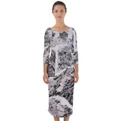 Coquina Shell Limestone Rocks Quarter Sleeve Midi Bodycon Dress